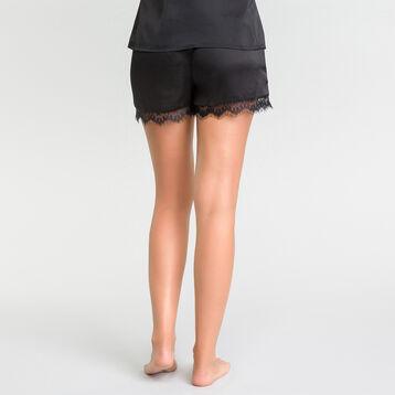 Pantalón corto de pijama satén con encaje negro - Glamour, , DIM
