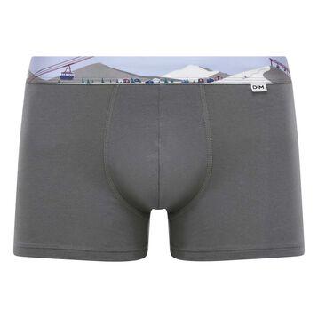 Bóxer gris oscuro de algodón elástico con cintura estampada, , DIM