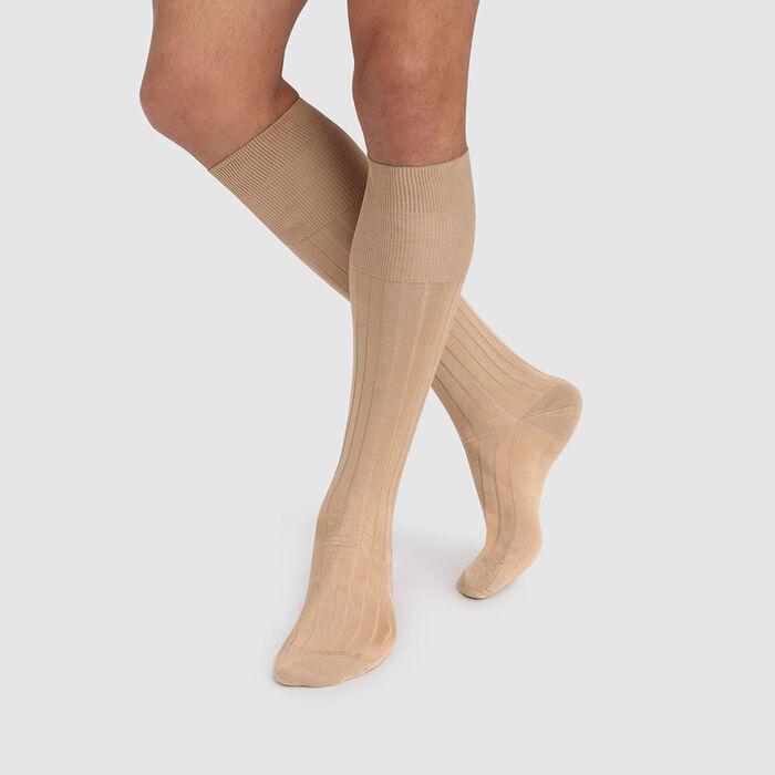Calcetines altos para hombre beige de algodón mercerizado de hilo de Escocia, , DIM