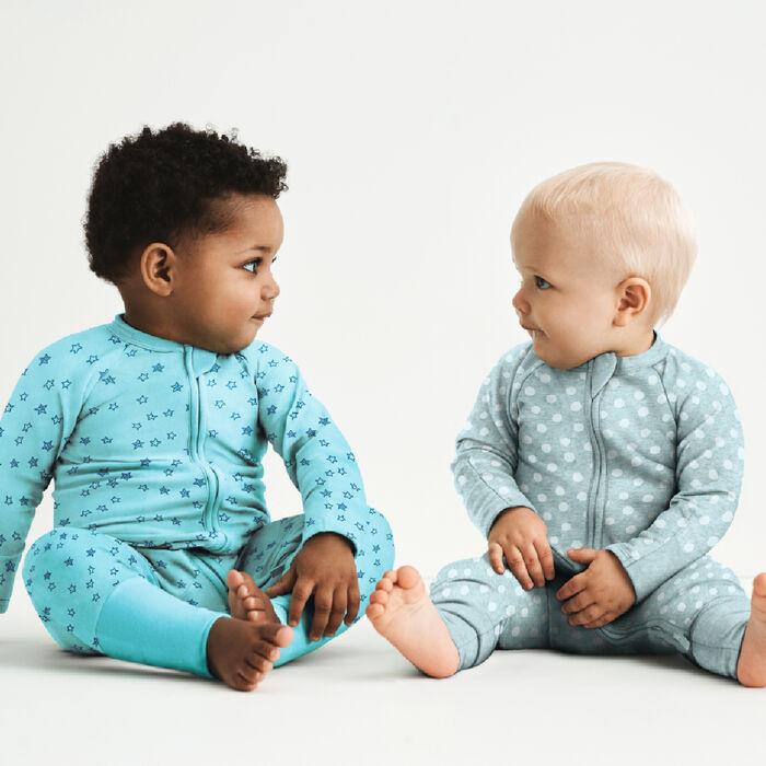 Pijama para bebé con cremallera de algodón elástico gris estampado de lunares blancos Dim Baby, , DIM