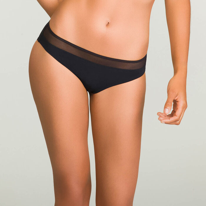Slip negro Generous para mujer de microfibra, , DIM