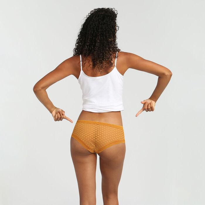Culotte de encaje estampado lunares amarillos Dotty Mesh Bar à Culottes Dim, , DIM