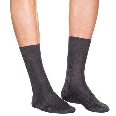 Lote de 2 pares de calcetines gris oscuro de hilo de Escocia para hombre, , DIM