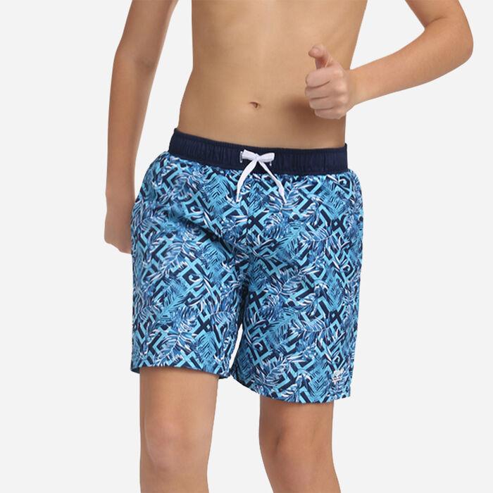 Bañador azul Miami para niño estampado exótico, , DIM