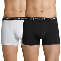 Lot de 2 boxers noir et blanc DIM Coton Stretch-DIM