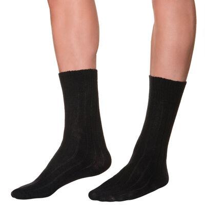Calcetines de media pantorrilla negros de lana y cachemira para hombre, , DIM