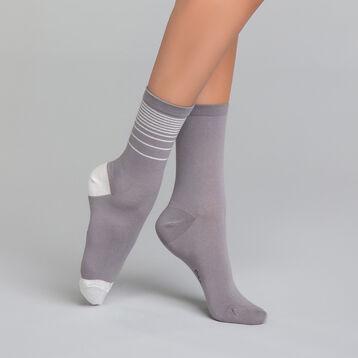 Pack de 2 pares de calcetines grises con lurex plateado - Dim Coton Style, , DIM