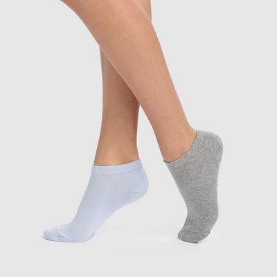 Pack de 2 pares de calcetines tobilleros azules y grises  Basic Coton, , DIM