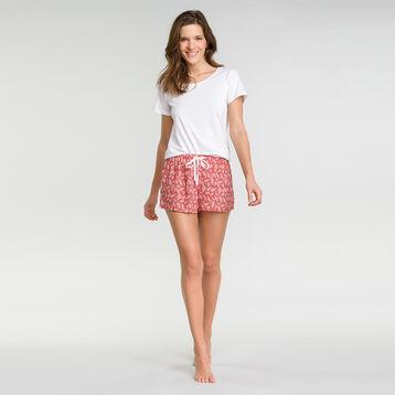 Pantalón corto de pijama rosa con estampado vegetal - Fashion  , , DIM