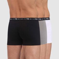 Pack de 3 bóxers negro, gris y blanco de algodón elástico hombre, , DIM