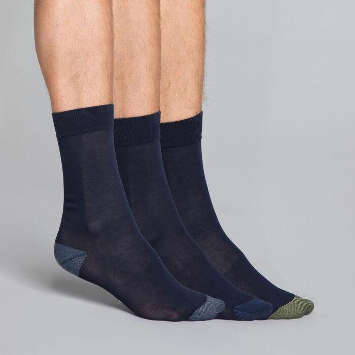 Pack de 3 pares de calcetines azul marino Hombre - Dim Coton Style, , DIM