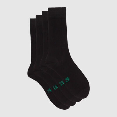 Pack de 2 pares de calcetines altos de algodón bio negro Green by Dim, , DIM