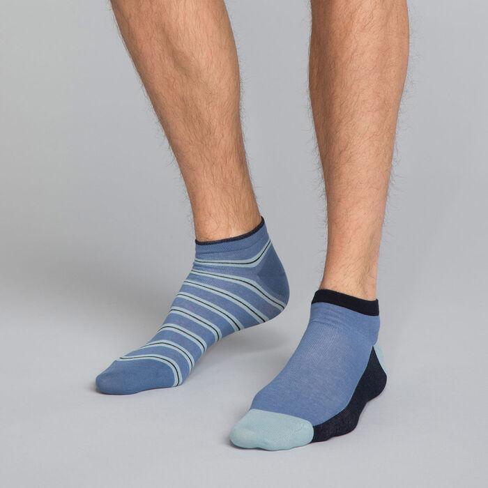 Pack de 2 pares de calcetines bajos de rayas azules Hombre - Dim Coton Style, , DIM