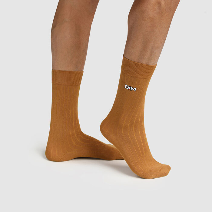 Calcetines para hombre de hilo de Escocia de malla de canalé amarillo Made in France Dim, , DIM