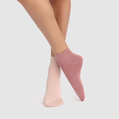 Pack de 2 pares de calcetines de caña baja rosas de microfibra Dim Skin, , DIM