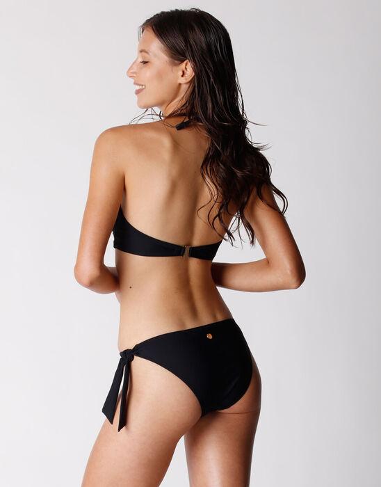 Braga de traje de baño de microfibra reciclada para mujer, de color negro, , DIM