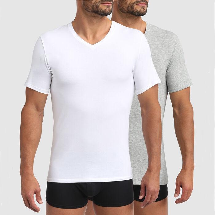 Pack de 2 camisetas gris para hombre de algodón bio y cuello V Green by Dim, , DIM