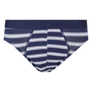 Bóxer azul y blanco de algodón elástico de rayas Mix&Fancy, , DIM