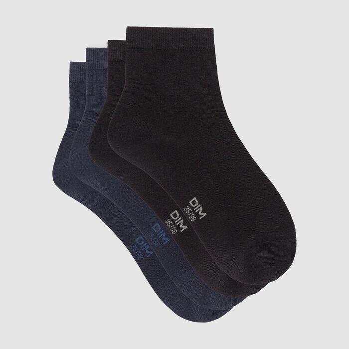 Pack de 2 pares de calcetines mujer bajos de algodón negros y azules marino - Dim Basic Coton, , DIM
