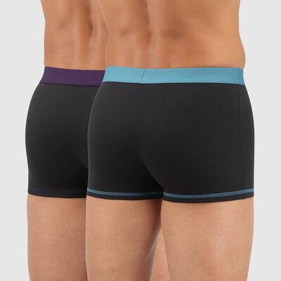 Pack de 2 bóxers de algodón con cintura colorida negro verde violeta Mix and Colors, , DIM