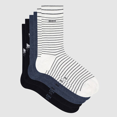 Pack de 3 pares de calcetines para hombre estampado barco marino Coton Style, , DIM