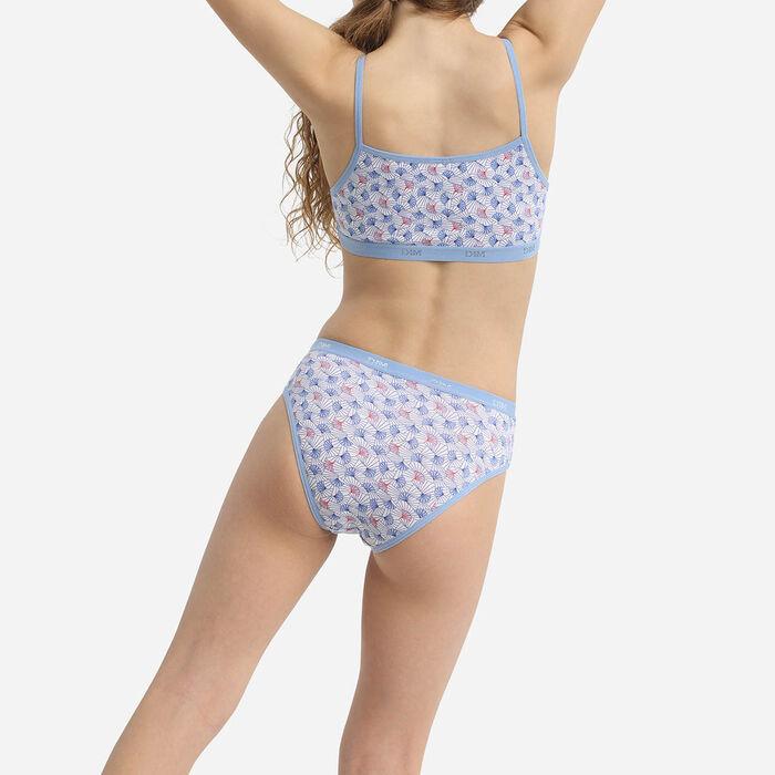 Pack de 3 sujetadores de  niña de algodón elástico con estampado wax Azul Les Pockets, , DIM