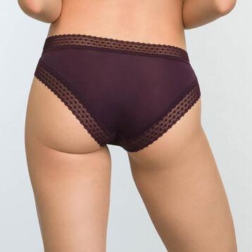 Braguita violeta de microfibra y encaje Trendy Micro, , DIM