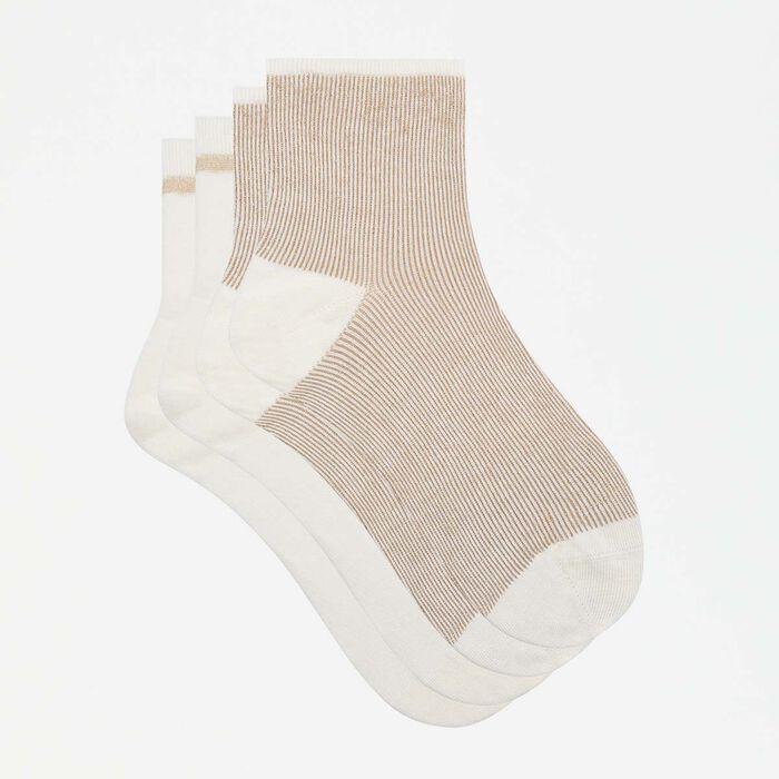 Pack de 2 pares de calcetines bajos fantasía de lurex dorado Coton Style, , DIM