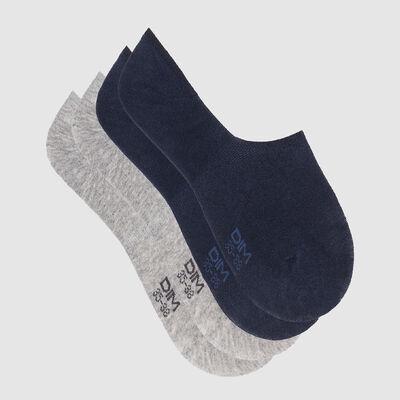 Pack de 2 pares de calcetines bajos azul marino y gris Basic Coton, , DIM