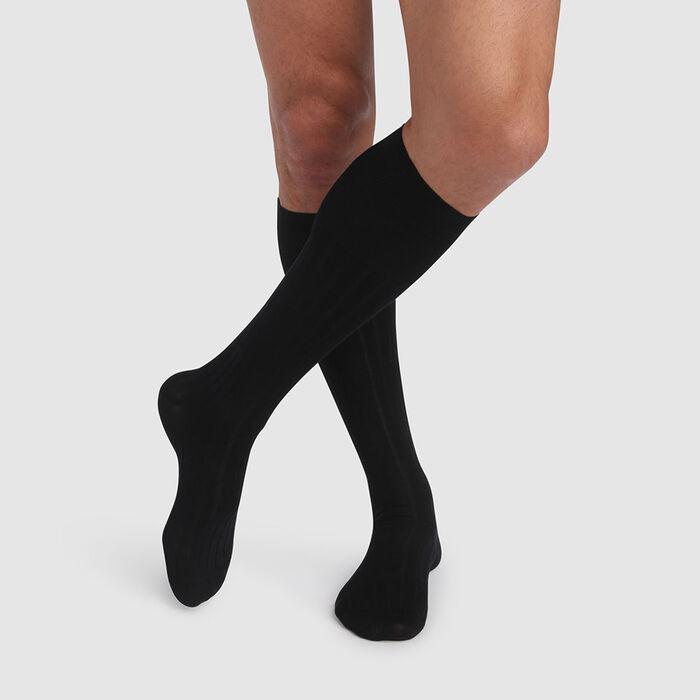 Calcetines altos para hombre de algodón mercerizado negro de hilo de Escocia, , DIM