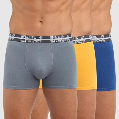 Pack de 3 bóxers de algodón elástico con cintura gráfica azul Dim Powerful, , DIM