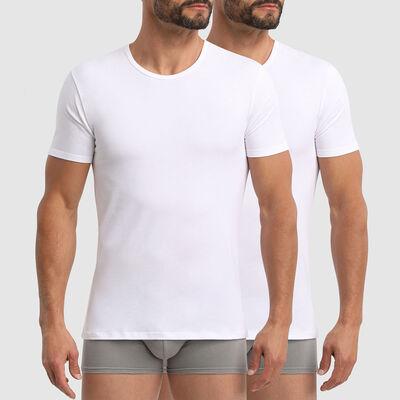Pack de 2 camisetas de algodón elástico blancas de cuello redondo X-Temp, , DIM