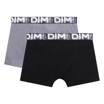 Pack de 2 bóxers de niño negro y gris claro con cintura estampada - Box Japon, , DIM