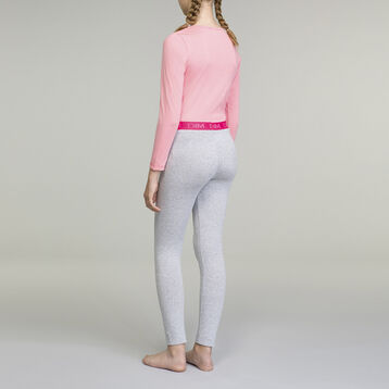 Pijama de manga larga para niña 2 piezas rosa y gris , , DIM