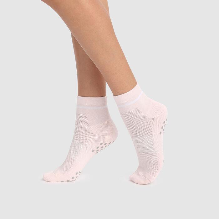 Calcetines para mujer antideslizantes rosa claro impacto ligero Dim Sport, , DIM