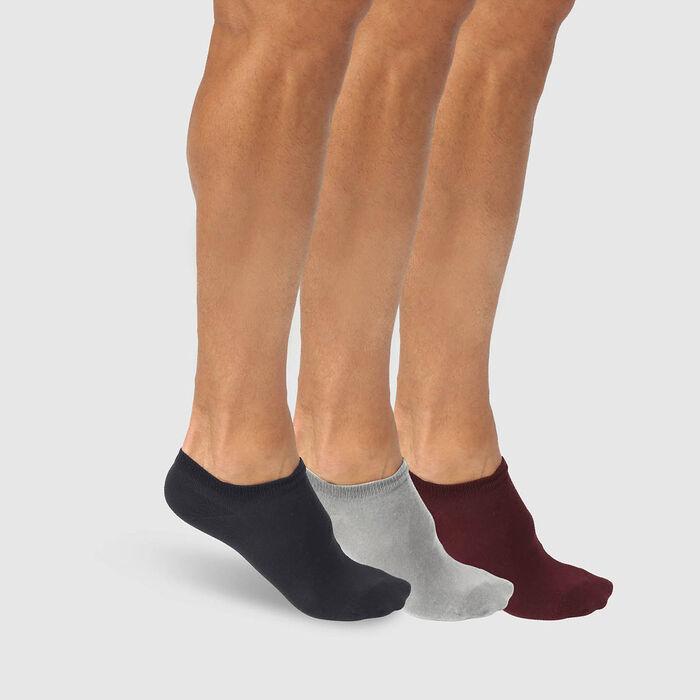 Pack de 3 pares de calcetines bajos para hombre azul, burdeos y gris Basic Coton, , DIM