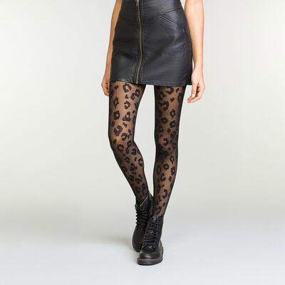 Panti negro estampado de leopardo , , DIM