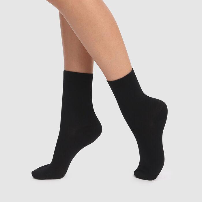 Pack de 2 pares de calcetines bajos negros de algodón lyocell Green, , DIM