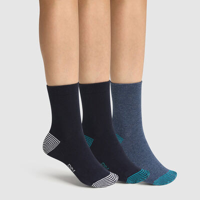 Pack de 3 pares de calcetines para niño mix and match marino Coton Style, , DIM