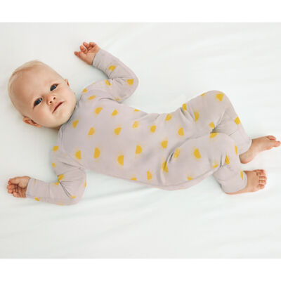 Pijama para bebé de algodón bio beige estampado sol Dim Baby, , DIM