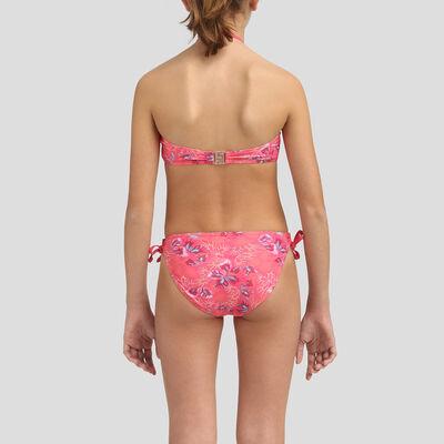 Bikini para niña tipo bandeau rosa pasión, , DIM