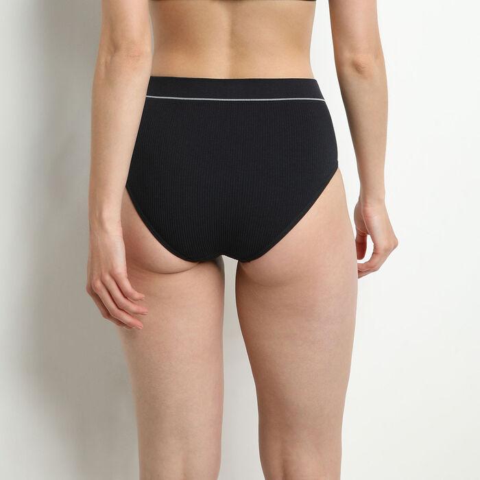 Bragas de cintura alta en tejido acanalado Negro Dim Original Retro, , DIM