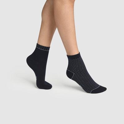 Pack de 2 pares de calcetines bajos para mujer de algodón bio de lunares azul Green by Dim, , DIM