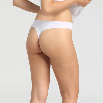 Pack de 2 tangas de algodón elástico nude/blanco Body Touch Coton, , DIM