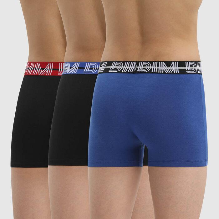 Pack de 3 bóxer para niño de algodón elástico con cintura a contraste Azul Ecodim, , DIM
