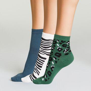 Pack de 3 pares de calcetines bajos de algodón mujer animal print, , DIM
