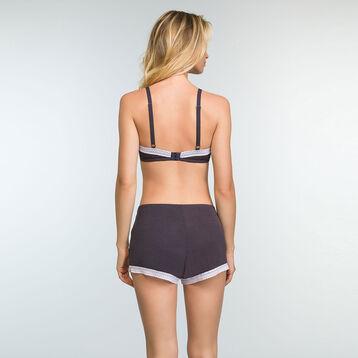 Pantalón corto de pijama de algodón moda gris Softly Line, , DIM