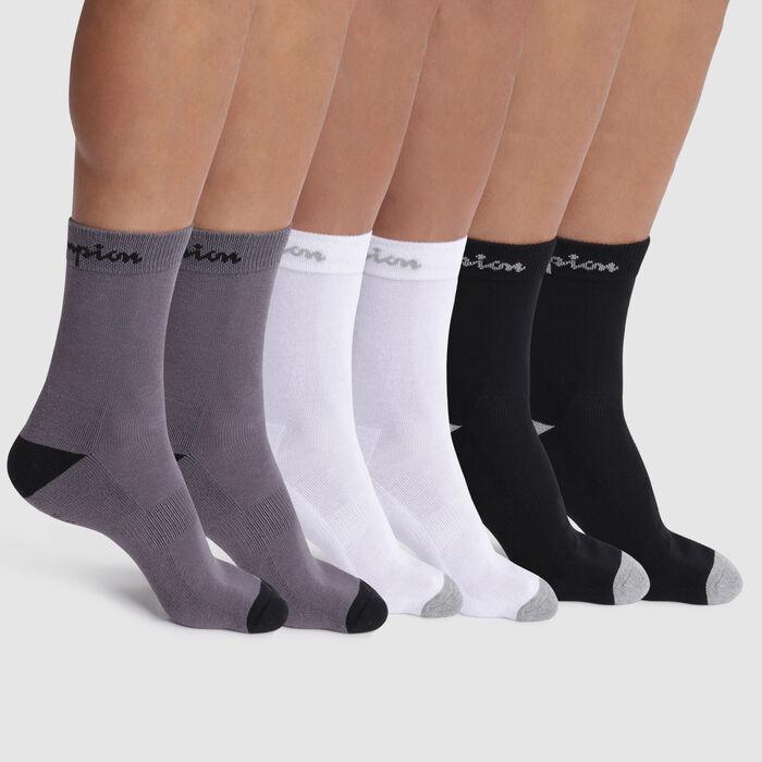 Pack de 6 pares de calcetines negros, blancos y gris - Champion Performance, , DIM