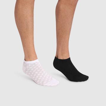 Pack de 2 pares de calcetines tobilleros para hombre estampado de líneas negras Coton Style, , DIM