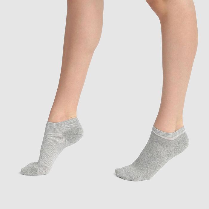 Pack de 2 pares de calcetines bajos gris lurex plateado Coton Style, , DIM